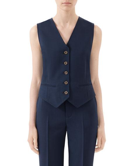 Gucci Fluid Drill V-Neck Button-Front Vest