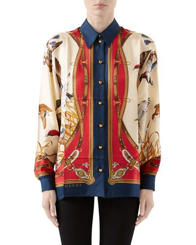 Flying Ducks & Belts Print Silk Twill Shirt