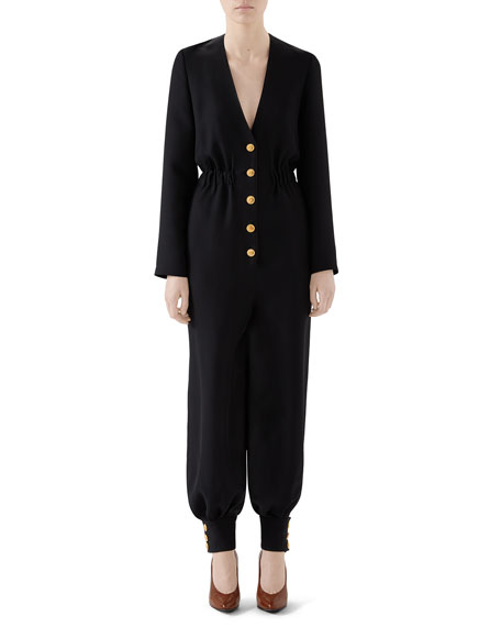 Gucci Cady Crepe Cuffed Button-Front Jumpsuit
