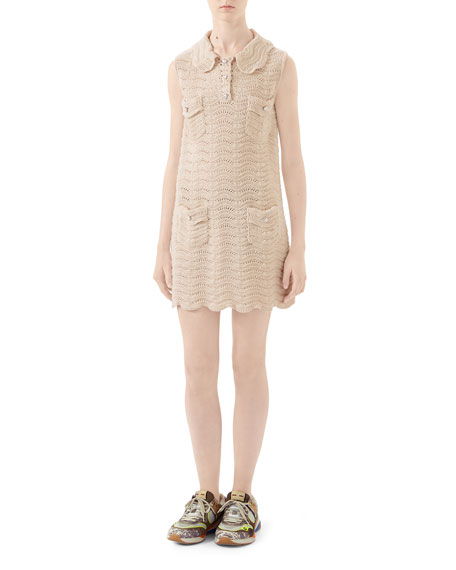 Gucci Collared Crochet Wool Dress