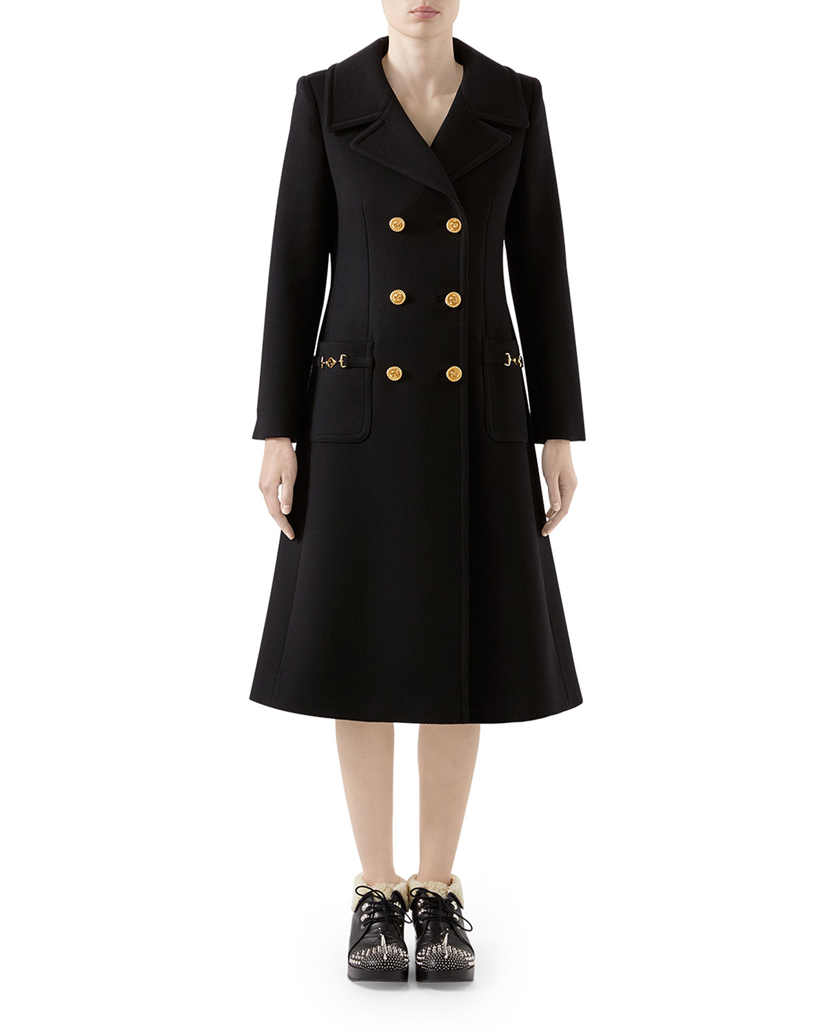 Wool Double Breasted Coat by Gucci