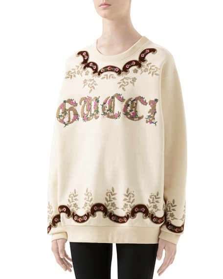 Gucci Oversized Tapestry-Embroidered Sweatshirt