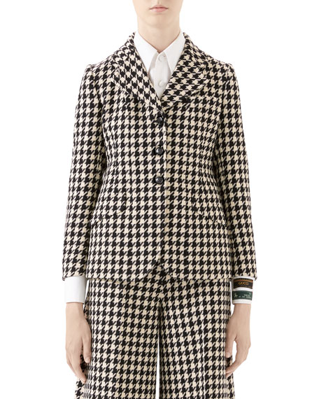 Gucci Houndstooth Fitted Jacket