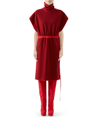 Flannel Wool High-Neck Dress