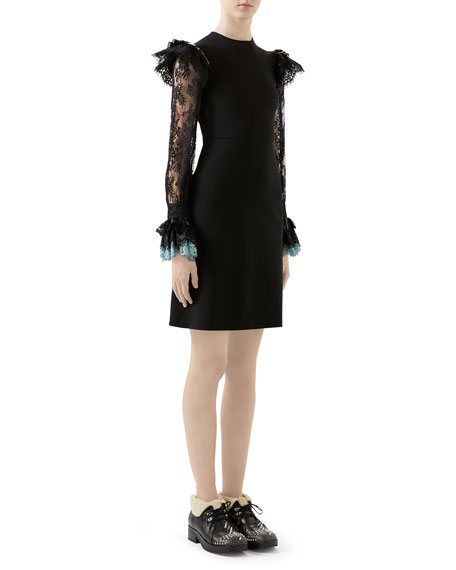 Gucci Lace-Sleeve Jersey Dress