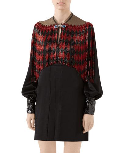 Diamond Beaded-Fringe Mini Dress