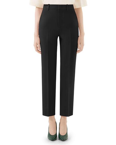 Gucci Wool-Silk Straight-Leg Pants
