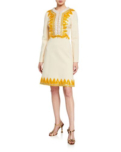 Sequined Compact-Jersey Long-Sleeve Dress
