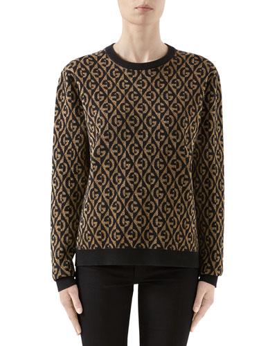 Metallic GG Rhombus Jacquard Sweater
