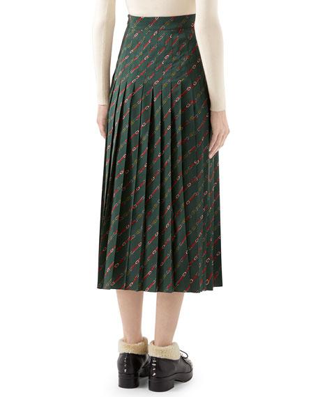 Gucci Pleated Diagonal Horsebit-Print Midi Skirt