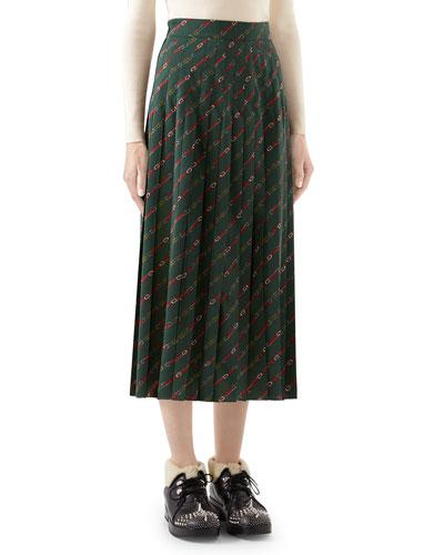 Pleated Diagonal Horsebit-Print Midi Skirt