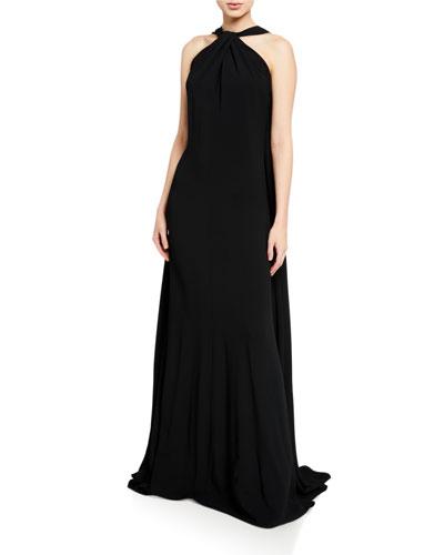 Sleeveless Halter-Neck Column Gown
