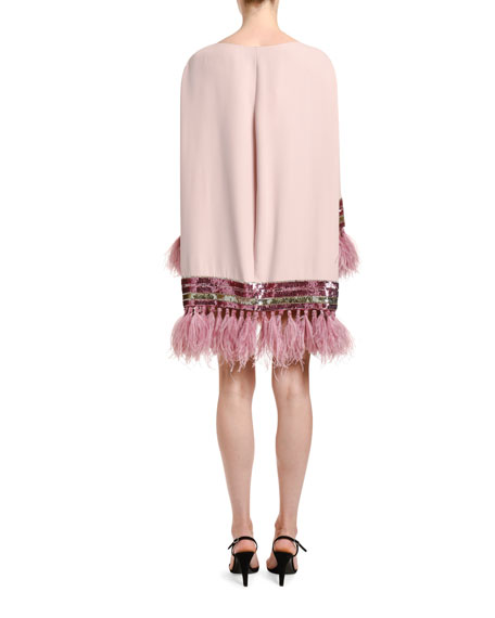 Image 2 of 3: Valentino Feather & Sequin Trim Silk Shift Dress