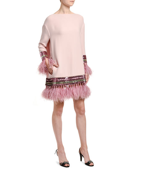 Image 3 of 3: Valentino Feather & Sequin Trim Silk Shift Dress