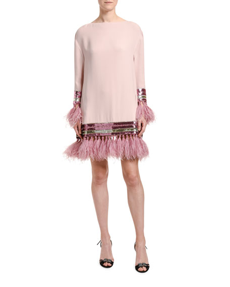 Image 1 of 3: Valentino Feather & Sequin Trim Silk Shift Dress