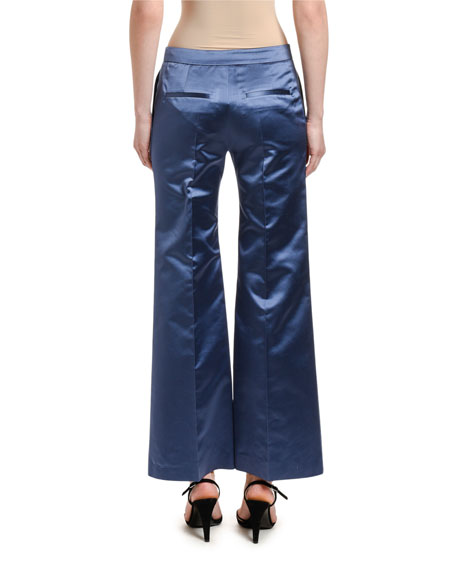 Image 2 of 2: Valentino Satin Wide-Leg Pants