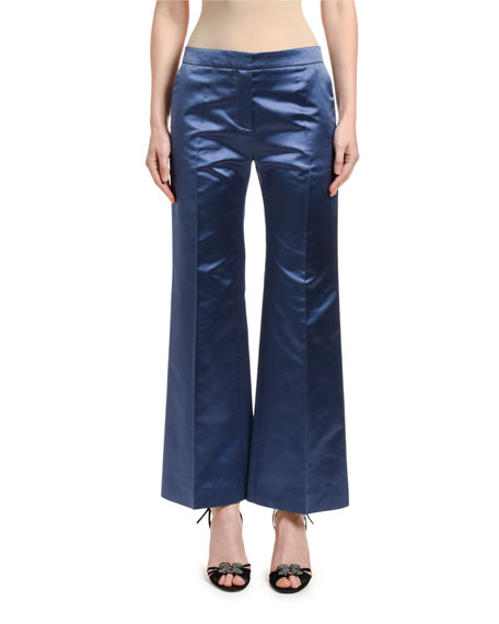 Image 1 of 2: Valentino Satin Wide-Leg Pants