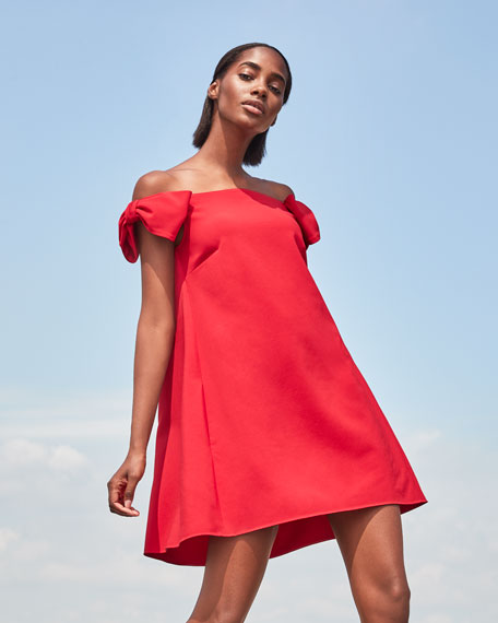 Image 2 of 4: Valentino Off-the-Shoulder Crepe Shift Dress