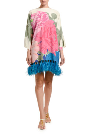 Valentino Feathered Long-Sleeve Dress