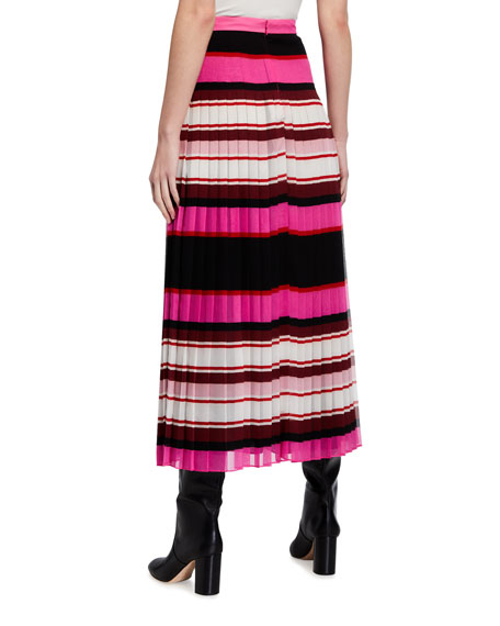 Image 2 of 3: Valentino Striped Plisse Midi Skirt