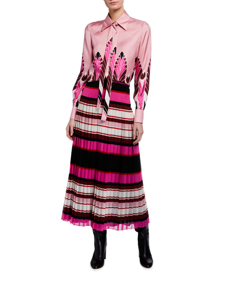 Image 3 of 3: Valentino Striped Plisse Midi Skirt