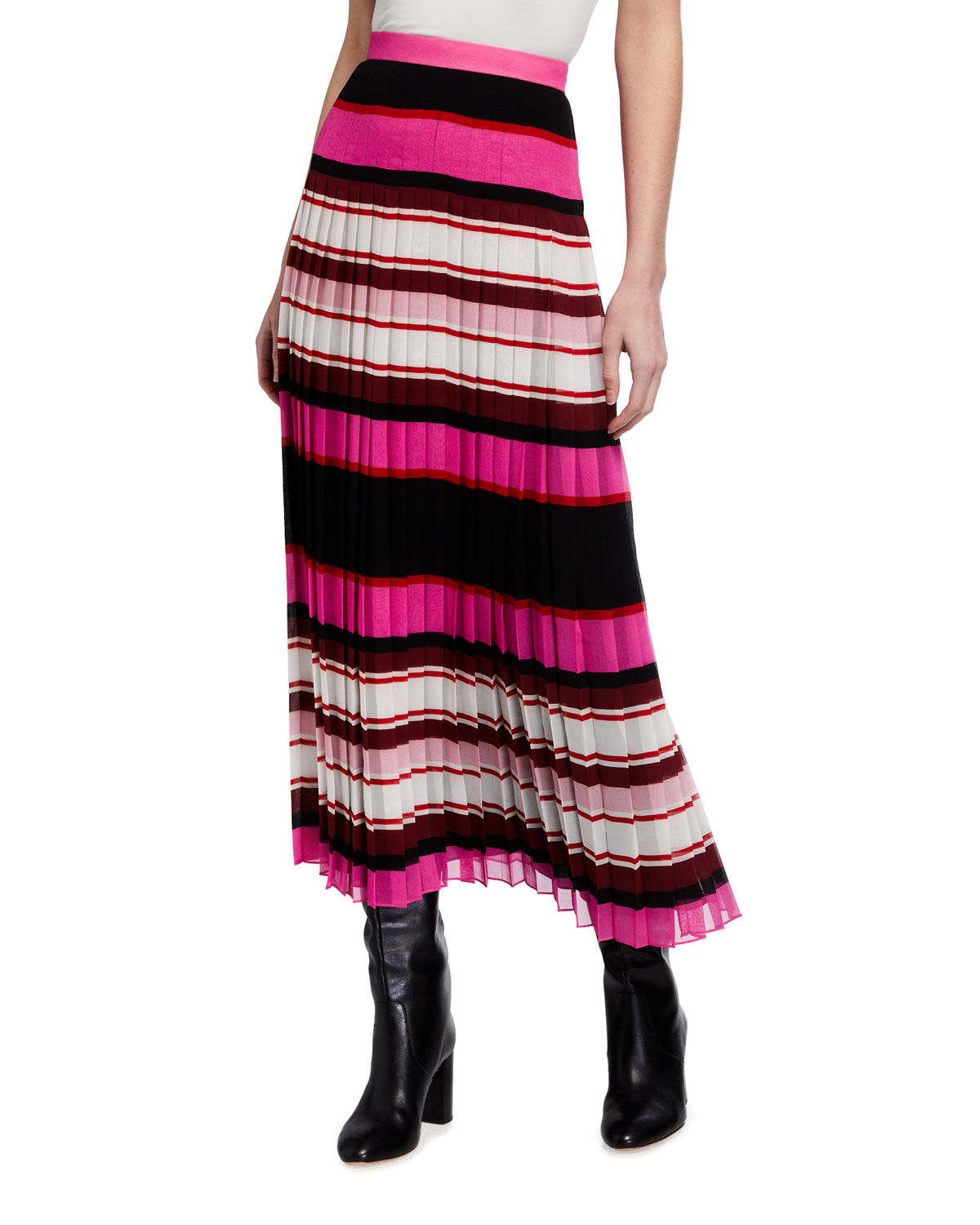 Valentino Striped Plisse Midi Skirt