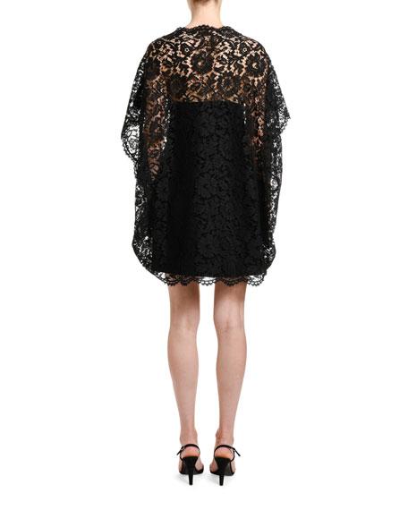 Valentino Lace-Cape Shift Dress
