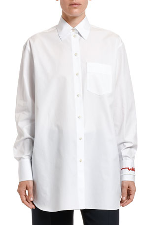 Valentino Embroidered Cotton Button-Front Shirt