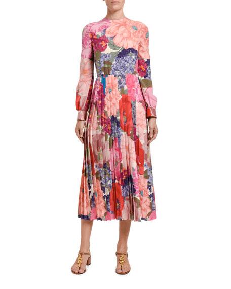 Valentino Floral Silk Midi Dress