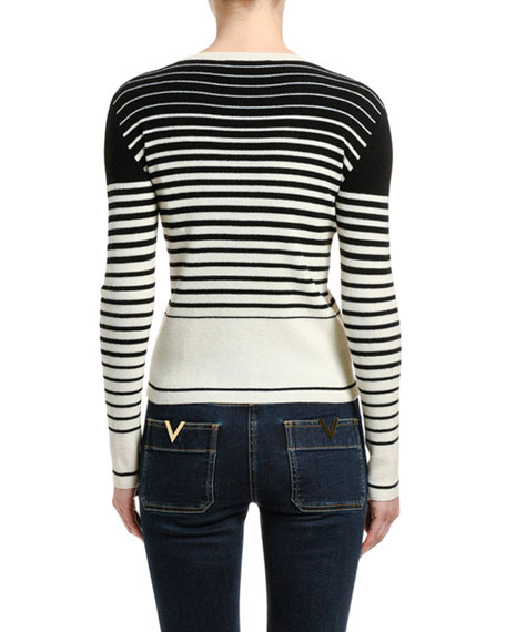 Image 2 of 2: Valentino Striped Wool-Cashmere Crewneck Sweater