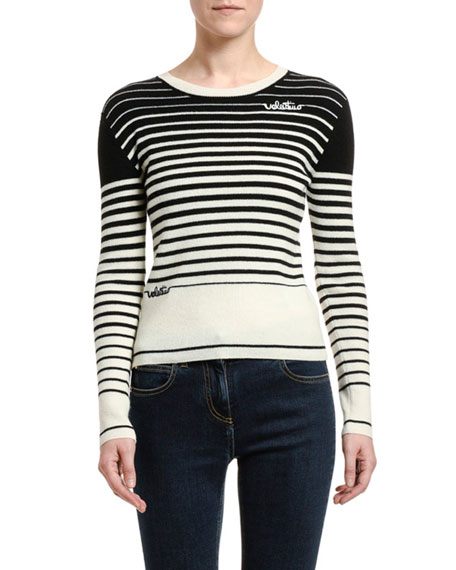 Image 1 of 2: Valentino Striped Wool-Cashmere Crewneck Sweater