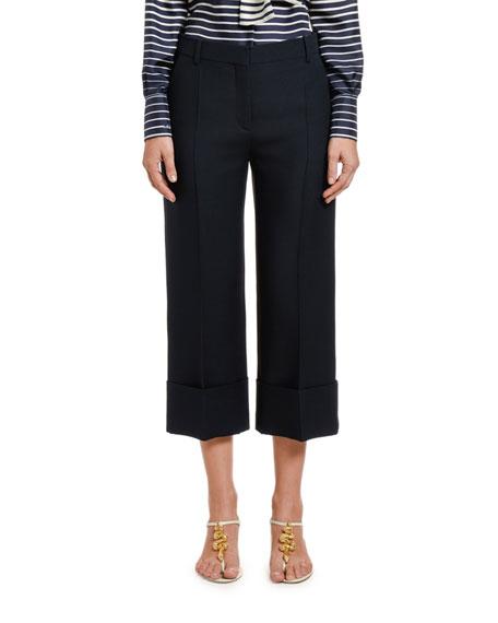 Valentino Pants WOOL-SILK WIDE-LEG CROP PANTS