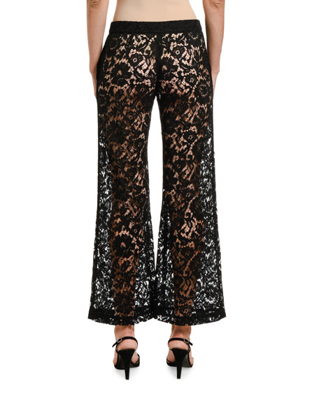 Image 2 of 2: Valentino Lace Wide-Leg Pants