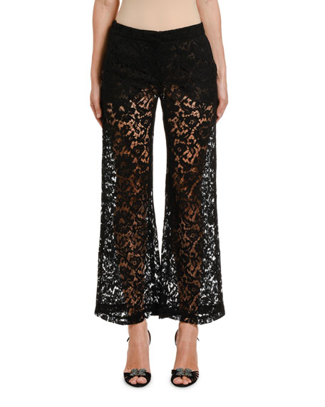 Image 1 of 2: Valentino Lace Wide-Leg Pants