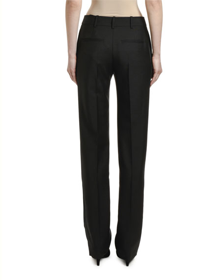 Image 2 of 2: Valentino Straight-Leg Wool Mohair Pants