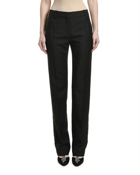 Image 1 of 2: Valentino Straight-Leg Wool Mohair Pants