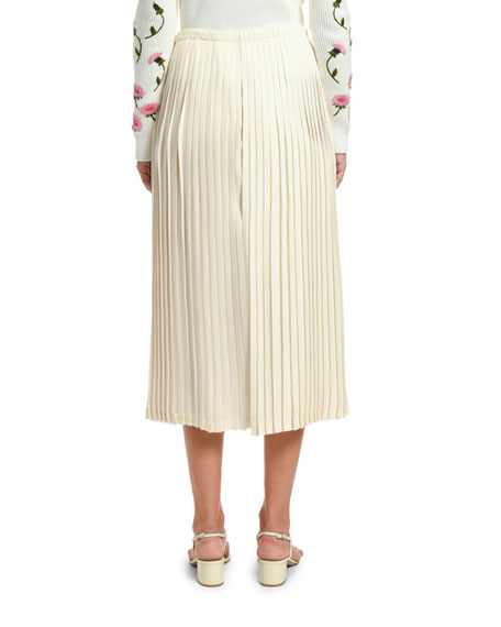 Image 2 of 2: Valentino Pleated Wide-Leg Crop Pants