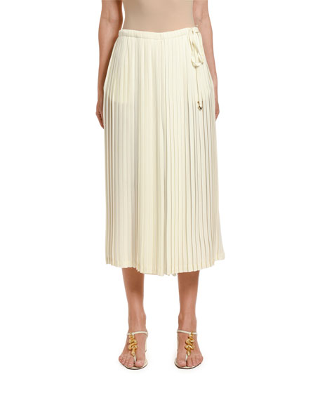 Image 1 of 2: Valentino Pleated Wide-Leg Crop Pants