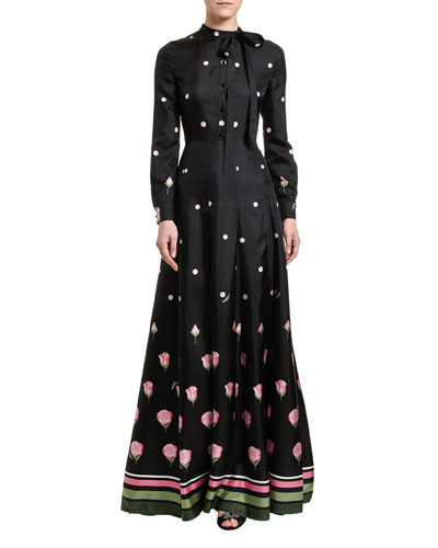 Polka & Rose Print Taffeta Shirtdress Gown