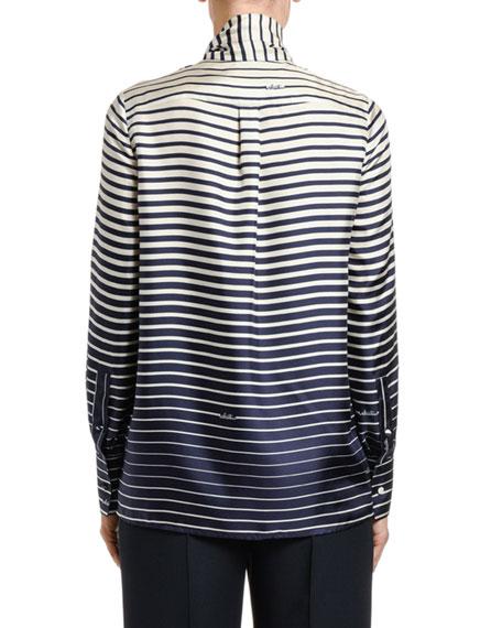 Valentino Engineer-Striped Silk Tie-Neck Shirt