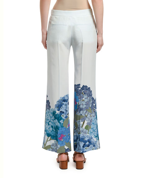 Image 2 of 2: Valentino Floral-Cuff Silk Wide-Leg Pants