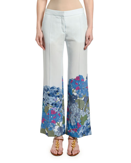 Image 1 of 2: Valentino Floral-Cuff Silk Wide-Leg Pants