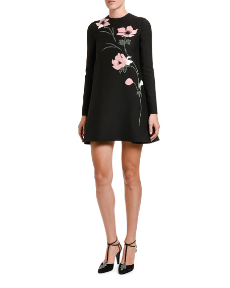 Image 1 of 2: Valentino Floral-Embroidered Long-Sleeve shift Dress