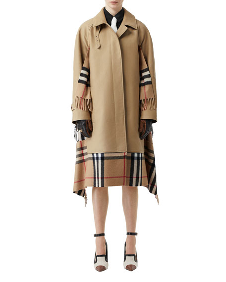 Burberry Cashmere Check-Inset Car Coat
