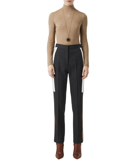 Image 3 of 5: Burberry Wool Side Striped Trousers