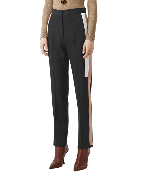 Image 1 of 5: Burberry Wool Side Striped Trousers