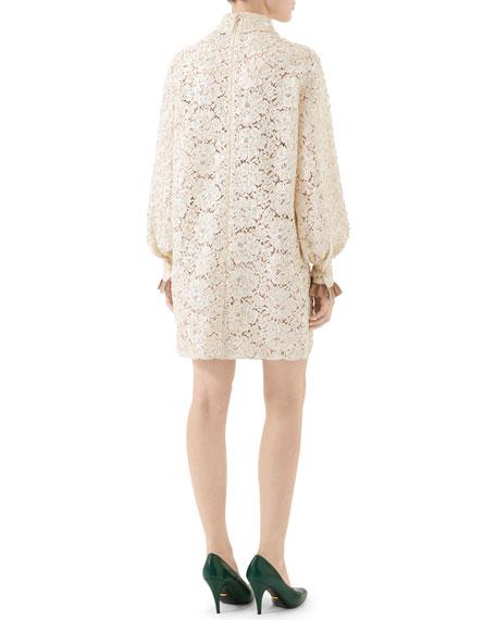 Gucci Flora Lace Flare Cuff Shirtdress