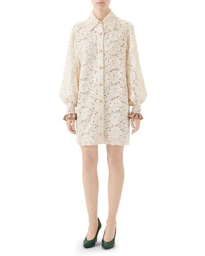 Flora Lace Flare Cuff Shirtdress