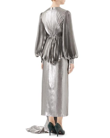 Gucci Metallic Silk Gown with Pleated Bodice & Asymmetric Train