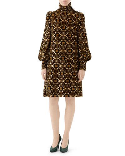 Metallic Geometric Floral Jersey Dress